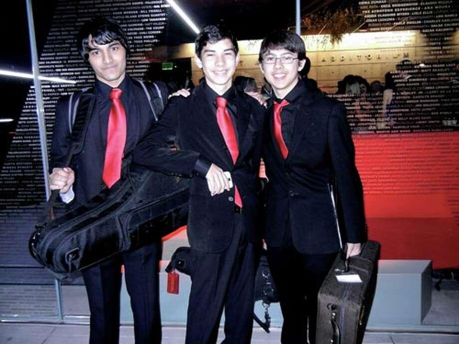 SFJAZZ High School All-Star musicians (from left) Kshimon Stevenson, Eric Nakanishi and Alan Osmundson