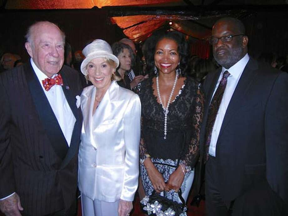 Former Sec. of State George Shultz and his missus, Protocol Chief Charlotte Shultz (left) with Denise Bradley and her husband, Kaiser Permanente CEO Bernard Tyson