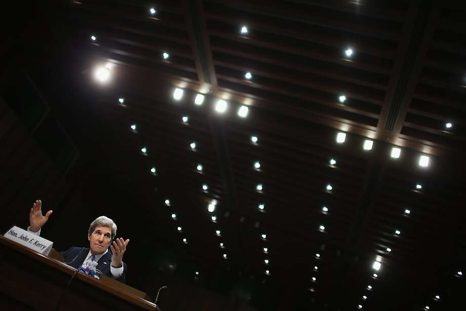 Sen. John Kerry, D-Mass., testifies during his confirmation hearing before the Senate Foreign Relations Committee to become the next secretary of state. Photo: Chip Somodevilla, Getty Images