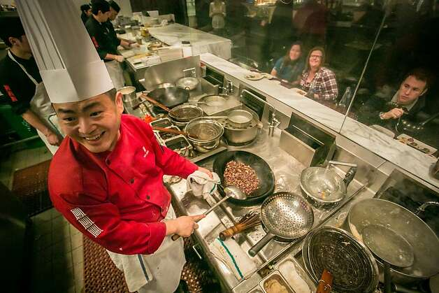 Executive Chef Tony Wu cooks with a  wok at My China restaurant in San Francisco, Calif. on Saturday, January 19th, 2013. Photo: John Storey