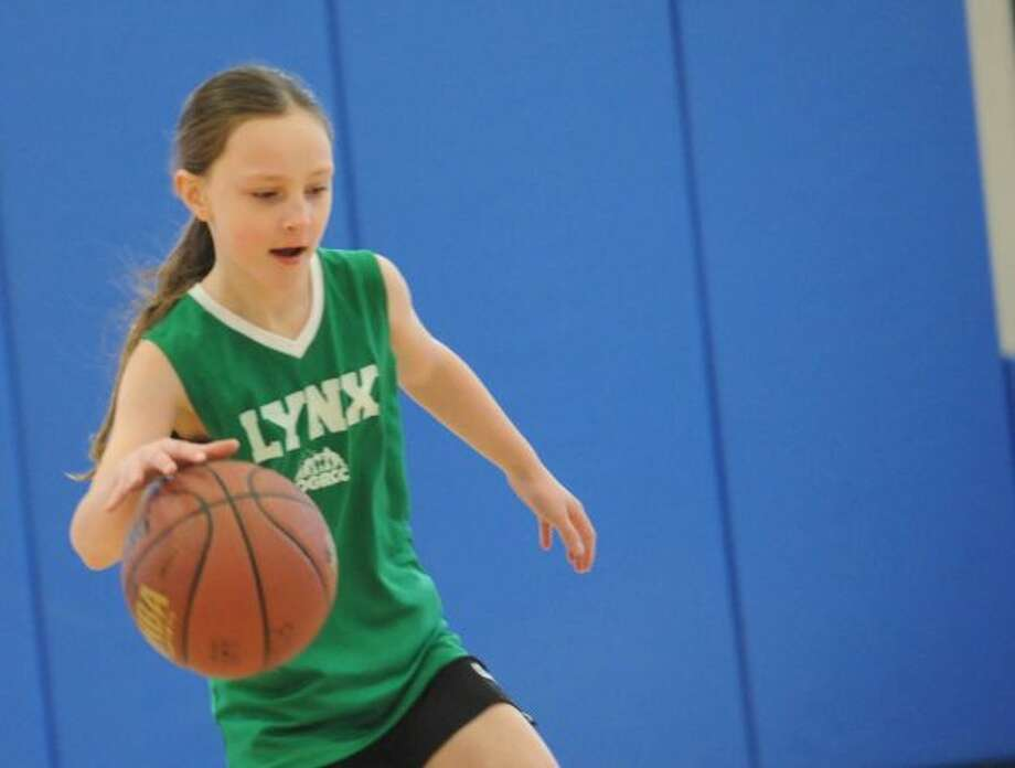 Kristin Riggs, 9, of Greenwich, at the Boys & Girls of Greenwich free basketball clinics for girls in Monday Jan. 21, 2013.