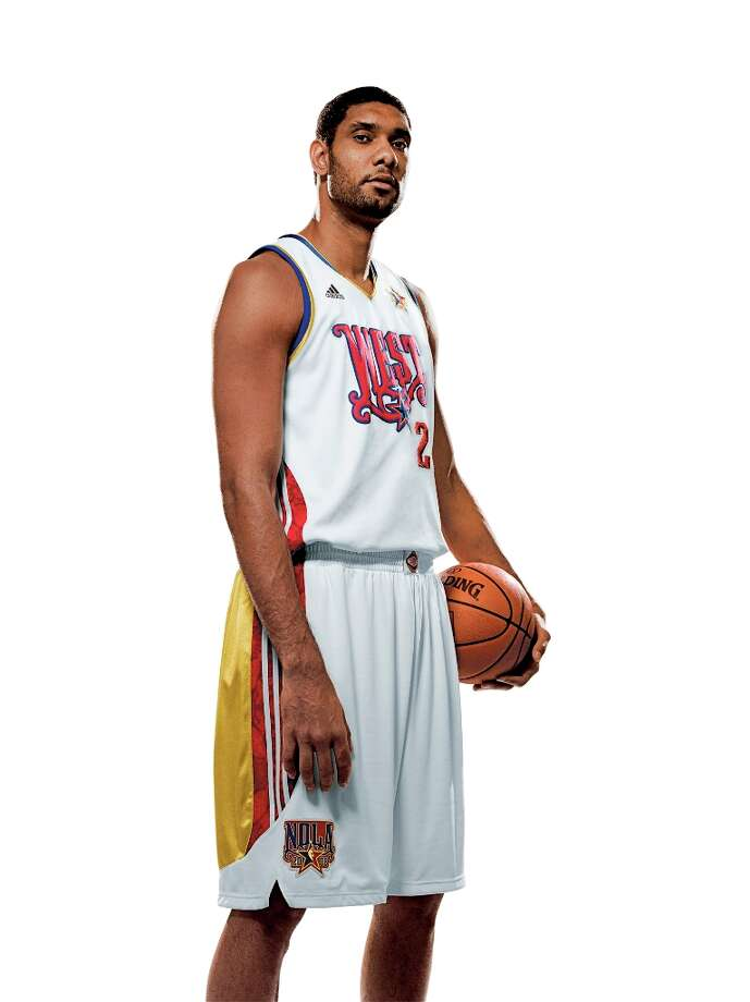 Tim Duncan wearing his 2008 All-Star West Jersey. Photo: HANDOUT PHOTO, NBA / NBA