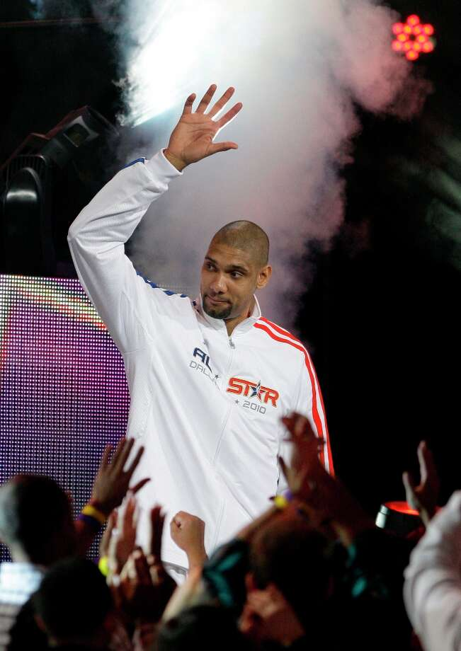 West All-Star Tim Duncan of the Spurs is introduced before the NBA All-Star basketball game Sunday, Feb. 14, 2010, at Cowboys Stadium in Arlington. Photo: Eric Gay, AP / AP