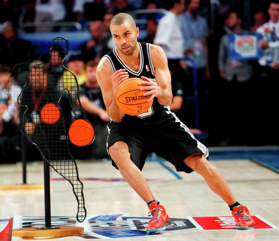 San Antonio Spurs' Tony Parker (9) participates in the NBA All-Star Skills Challenge basketball competition in Orlando, Fla., Saturday, Feb. 25, 2012. Parker won the event. (AP Photo/Lynne Sladky) Photo: Lynne Sladky, Associated Press / AP