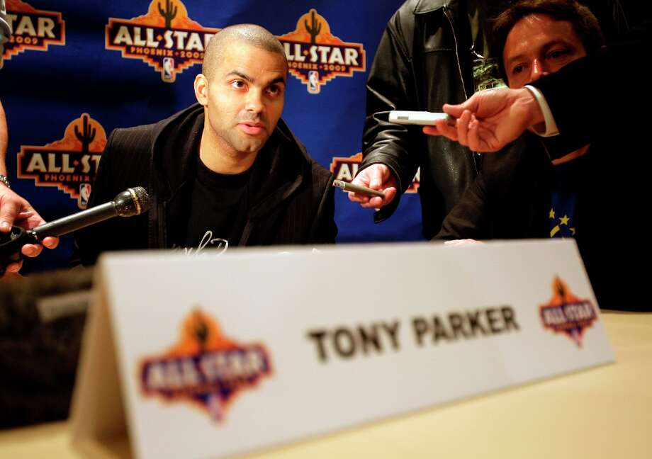 Spurs guard Tony Parker talks to the media Friday, Feb. 13, 2009, at the NBA All-Star game media availability in Phoenix. Photo: Matt York, AP / AP