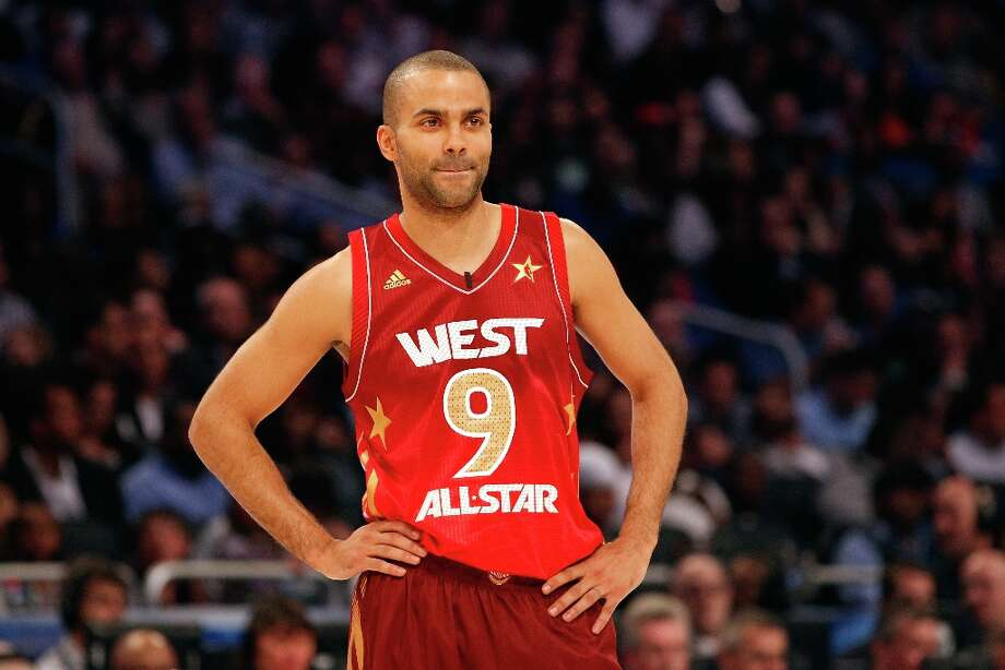 Tony Parker (9) of the Spurs and the Western Conference looks on during the 2012 NBA All-Star Game at the Amway Center on Feb. 26, 2012 in Orlando. Photo: Ronald Martinez, Getty Images / 2012 Getty Images