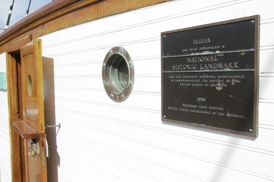 National Historic Landmark plaque on the Elissa shown in dry dock at Bollinger Shipyards. Photo: Melissa Phillip, Houston Chronicle / © 2013 Houston Chronicle