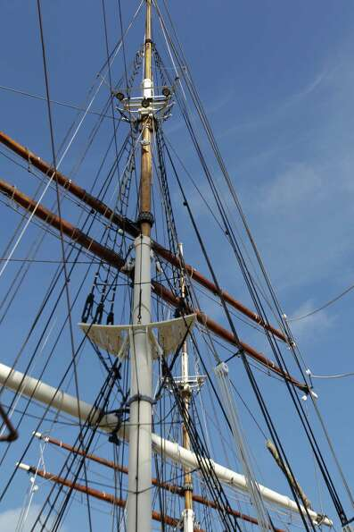 Masts of the Elissa shown in dry dock at Bollinger Shipyards.