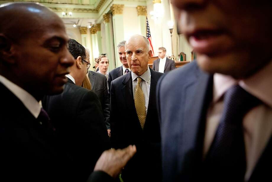Gov. Jerry Brown leaves the Assembly Chambers after delivering his State of the State address at the State Capitol January 24, 2013 in Sacramento, Calif. Photo: Max Whittaker/Prime, Special To The Chronicle