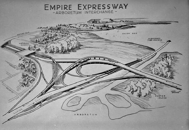 A Jan. 8, 1960 drawing of hte proposed Empire Express Way that would have connected the Central District to the Arboretum area. Photo: Seattle Municipal Archives