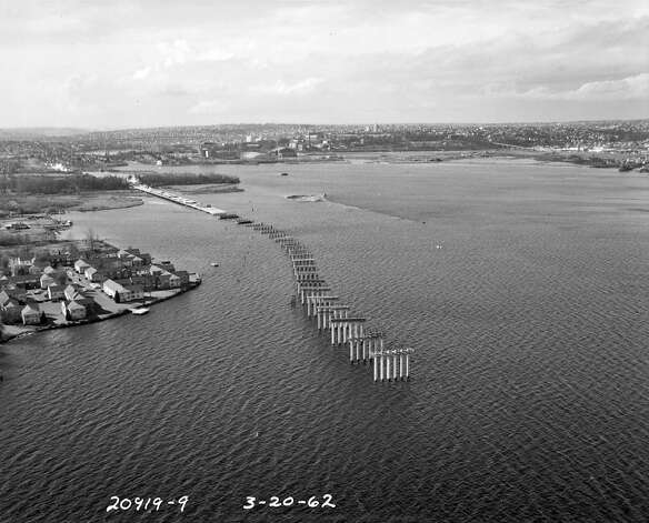Construction of the state Route 520 bridge, March 20, 1962. Photo: Seattle Municipal Archives