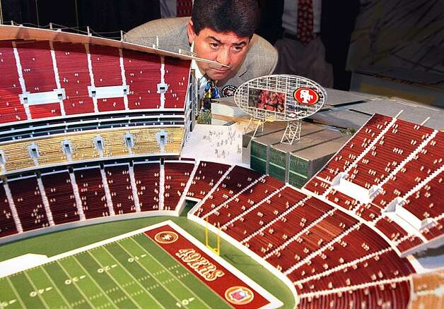 NINERS/C/24APR97/CD/CS - SF 49ers owner Eddie DeBartolo, jr. looks over a model of the new 49ers stadium after it was unveiled at a press conference at the St. Francis Hotel in SF.  The Candlestick Point redevelopment proposal also includes a 1.4 million square foot shopping and entertainment center, called Candlestick Mills.  SAN FRANCISCO CHRONICLE PHOTO BY CHRIS STEWART  ALSO RAN: 10/26/1999  Ran on: 12-26-2004 Eddie DeBartolo Jr. was ready to help shell out for a stadium after a ballot measure was passed.  Ran on: 12-26-2004 Eddie DeBartolo Jr. was ready to help shell out for a stadium after a ballot measure was passed. Photo: Chris Stewart