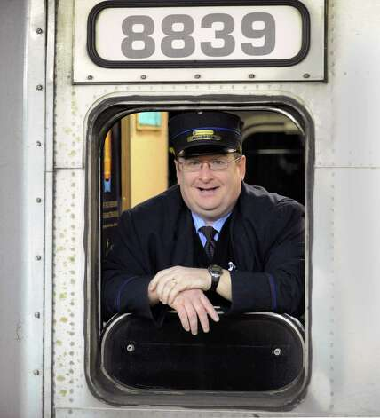 Metro-North Railroad Conductor Peter Whyte in his train at Grand Central Terminal, New York City, Thursday, Jan. 24, 2013.  Photo: Bob Luckey / Greenwich Time