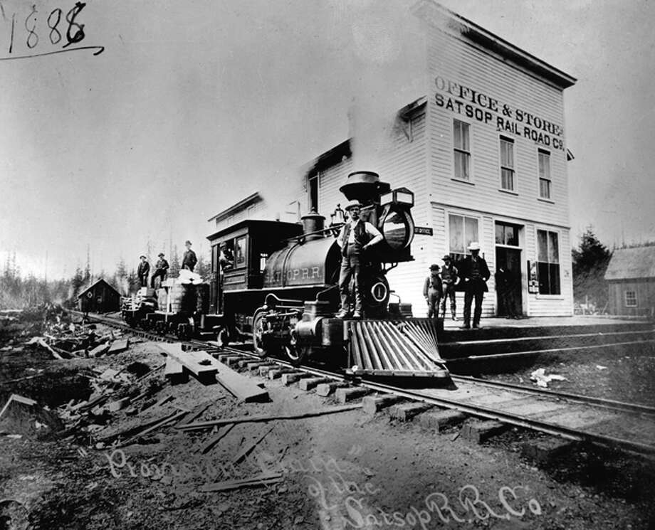 This gem from the P-I archive shows a train from the Satsop Railroad. Company records from 1884 to 1888 are stored in the University of Washington Special Collections.