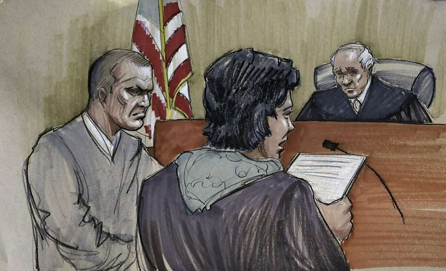 A courtroom sketch shows victim Linda Ragsdale read an impact statement to U.S. District Judge Harry Leinenweber as defendant David Coleman Headley stands near her in the courtroom. Photo: Tom Gianni, Associated Press