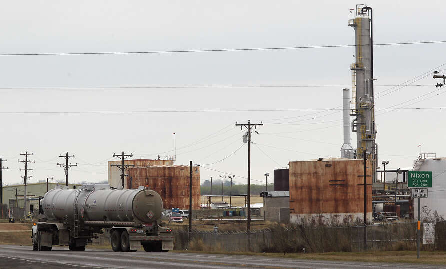 A tanker leaves the Blue Dolphin Energy Nixon refinery, near Nixon, Texas, Thursday, Jan. 24, 2013.