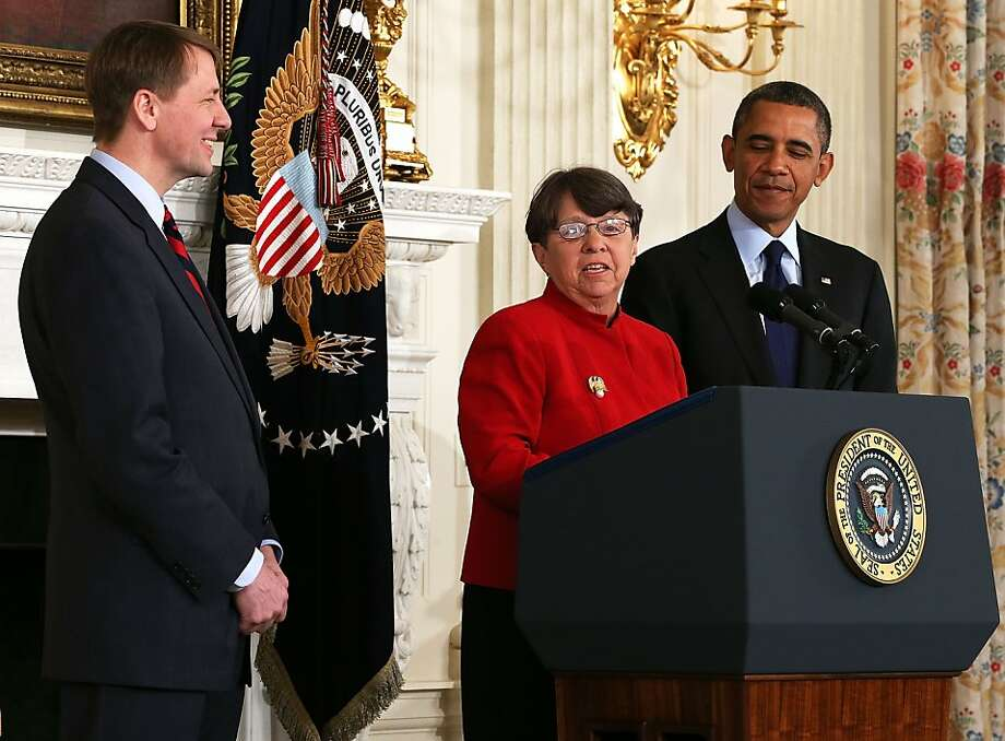 Ex-U.S. attorney Mary Jo White is unveiled as President Obama's choice for chairwoman of the Securities and Exchange Commission. Consumer Financial Protection Bureau director Richard Cordray (left) was renominated. Photo: Alex Wong, Getty Images