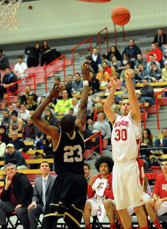 Sacred Heart's #30 Nick Greenbacker releases a shot, during men's basketball action against Bryant at Sacred Heart University in Fairfield, Conn. on Thursday January 24, 2013. Photo: Christian Abraham / Connecticut Post