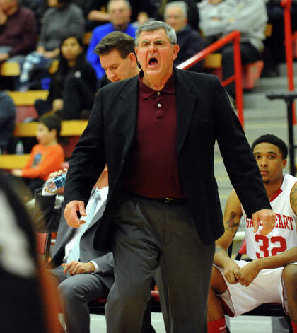 Sacred Heart Head Coach Dave Bike, during men's basketball action against Bryant at Sacred Heart University in Fairfield, Conn. on Thursday January 24, 2013. Photo: Christian Abraham / Connecticut Post