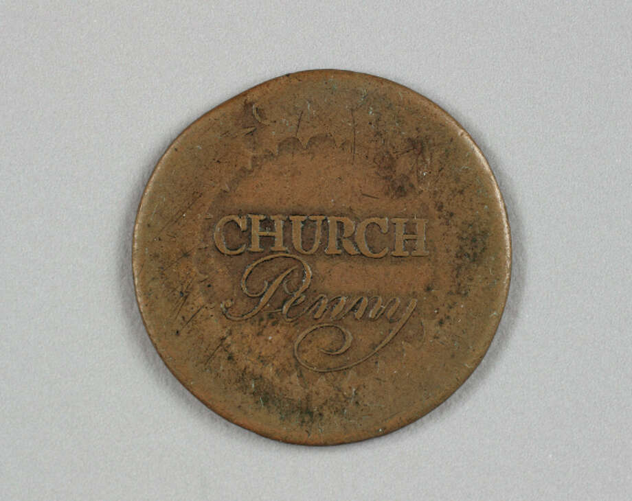 Photo courtesy First Presbyterian Church  This 1790 First Presbyterian Church penny, made before there was a U.S. Mint, has been donated to the Albany Institute of History & Art and will be displayed for its 250th anniversary.
