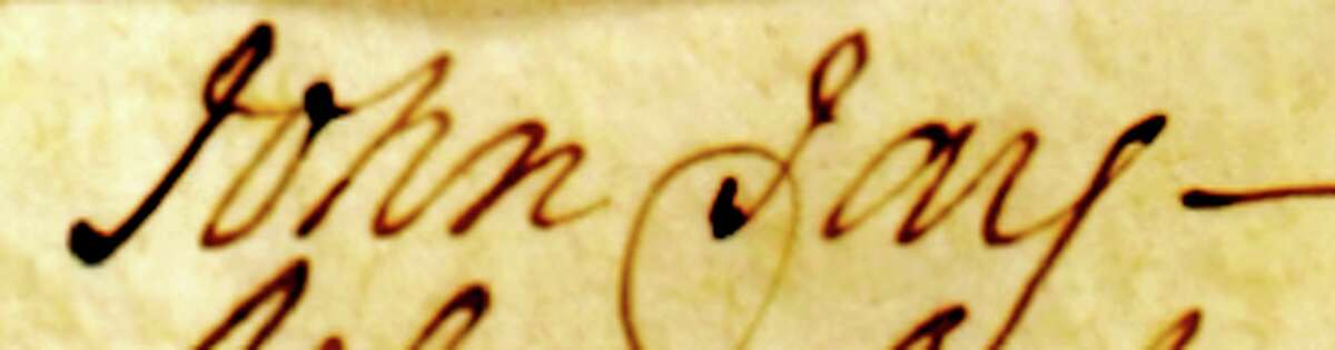 Courtesy First Presbyterian Church Signature of Founding Father John Jay in a church ledger of people who attended the church.