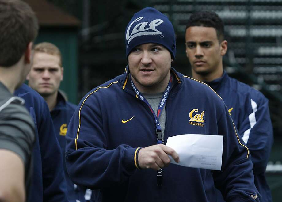 Assistant coach Mike MacDonald works with the Cal Bears rugby team during a practice on Witter Rugby Field at UC Berkeley on Thursday, Jan. 24, 2013. Photo: Paul Chinn, The Chronicle