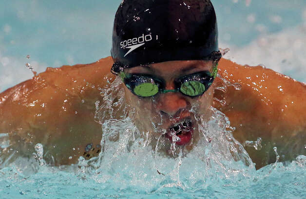 Fox Tech's Eddie Molina competes in the men 200 yard IM during the UIL District 30-4A Swimming and Diving Championships Thursday Jan. 24, 2013 at the San Antonio Natatorium. Molina finished first with a time of 2:31.65. Photo: Edward A. Ornelas, Express-News / © 2013 San Antonio Express-News