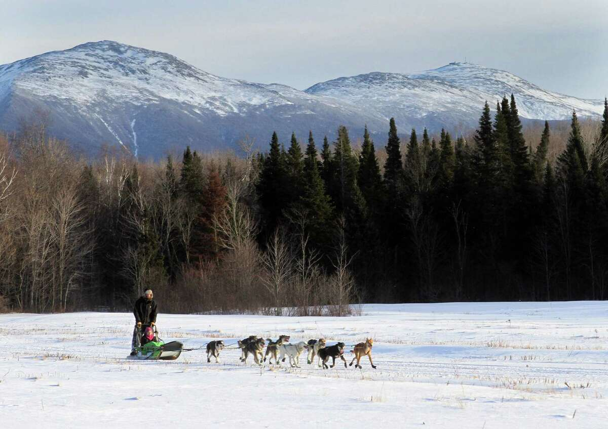 In this photo taken Thursday Jan. 17, 2013 Ben Morehouse guides a team of sled dogs, including a blind dog Gonzo and his brother Poncho through a field below the Presidential Range in the White Mountains in Jefferson, N.H. The Muddy Paw Sled Dog Kennel takes in rescues and Ã'Â