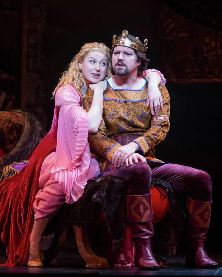 "Margaret Robinson stars as Guenevere and Robert Petkoff as King Arthur in Theatre Under The Stars' production of the classic Lerner and Loewe musical ""Camelot."".    Photo Credit:  Bruce Bennett Photo: Bruce Bennett / Bruce Bennett 2013 and beyond"