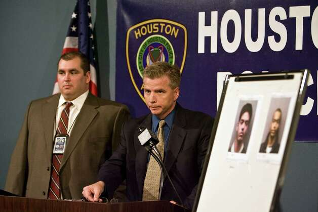Houston Police Department Homicide Division's Dect. Paul Houghton (left) Sgt. Brian Harris (2nd from left) speaks during a press conference regarding charges that have been filed against two suspects arrested in the fatal stabbing of Tabassum Khan, 43, at 6061 Beverly Hill #76 about 8:20 a.m. on Nov. 25, 2009. The suspects include her son, Danish Moazzam Minhas (left photo 17 yrs.) and an accomplice Nur J. Mohamed (right photo 18 yrs.), the two have been charged with capital murder in the 338th State District Court Wednesday, Jan. 6, 2010, in Houston. ( James Nielsen / Chronicle ) Photo: James Nielsen, Houston Chronicle / Houston Chronicle