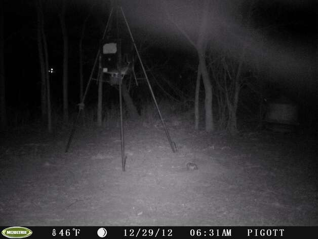 Stills from video from a deer cam, taken near Nixon, Texas on Dec. 29, 2012. Mutual UFO Network says the triangular lights might be signs of a UFO. / Copyright	2008