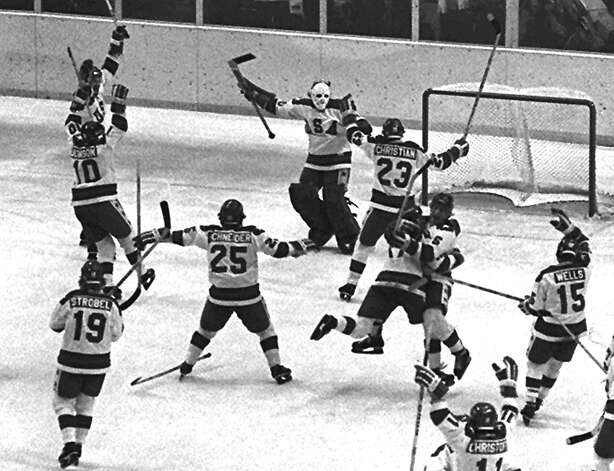 FILE--The 1980 U.S. Olympic hockey team members celebrate after their upset victory over the heavily favored Soviet team by 4-3 score in the Winter Olympics, in this Feb. 22, 1980, in Lake Placid, N.Y. Twenty Februarys ago, during two tense weeks of ever-increasing drama and heightening awareness, a sport infrequently watched by many Americans captivated a country's collective soul, reawakened its waning spirit and tapped a vein of patriotism that seldom has been rivaled since. Photo: AP / AP
