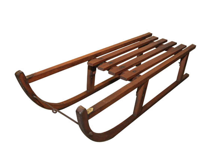 """Vintage SleighVintage """"Davos Germania"""" snow sled/sleigh, wood with metal runner guides and braces. Measures 32x10x14. $85 at Black Sheep Antique Center."""