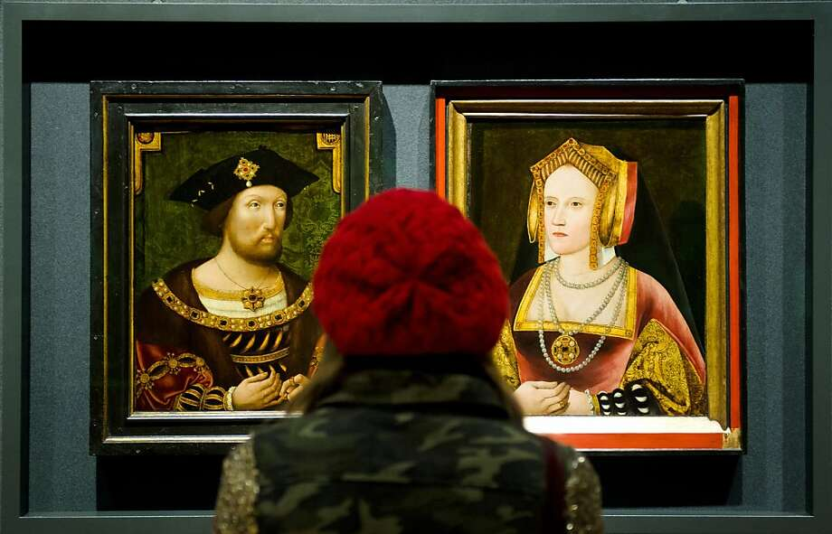 "Henry is still giving her his 'I want an annulment' look:Portraits of King Henry VIII and his first wife, Catherine of Aragon, are displayed together for the first time in nearly 500 years at the National Portrait Gallery in London. Discovered in Lambeth Palace, the portrait of Catherine of Aragon had been painted over with a picture of the king's last wife, Catherine Parr. Art experts, however, suspected that there was more to the painting than what appeared because of similarities with other known paintings of Catherine of Aragon. After work by the National Portrait Gallery's restoration team, the painting is being displayed in a ""Henry and Catherine Reunited"" exhibition. Photo: Leon Neal, AFP/Getty Images"