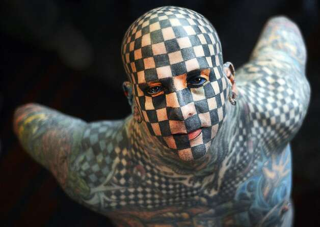 Matt the tat: American Matt Gone, a man with a checkered past, attends the Expotattoo Venezuela 2013 in Caracas. Photo: Juan Barreto, AFP/Getty Images