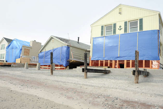 Home damaged by Superstorm Sandy on Bayview Beach, in Milford, Conn., Jan. 25th, 2013. Photo: Ned Gerard / Connecticut Post