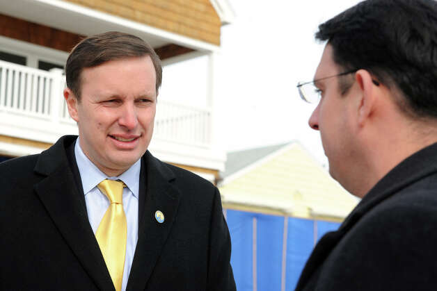Senator Chris Murphy speaks with Mayor Ben Blake during a tour of Bayview Beach, in Milford, Conn., Jan. 25th, 2013. Photo: Ned Gerard / Connecticut Post