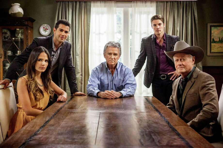 J.R. (Larry Hagman, front, right), his brother Bobby (Patrick Duffy, center) and other members of the Ewing clan join forces in the second season of 'Dallas.' Photo: TNT