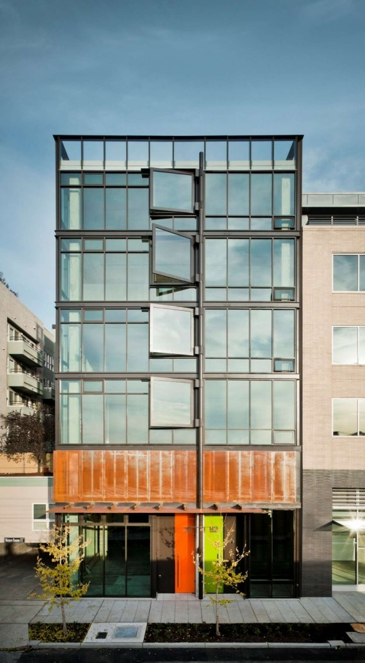 The street-facing side of the building features 8-foot by 7-foot hinged windows that also swing open. Unit 600, a 2,237-square-foot shell, is listed for $1.175 million.
