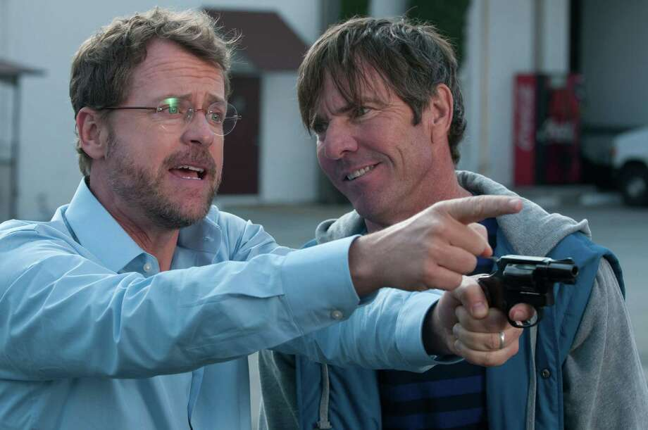 "This image released by Relativity Media shows Greg Kinnear, left, and and Dennis Quaid in a scene from ""Movie 43."""