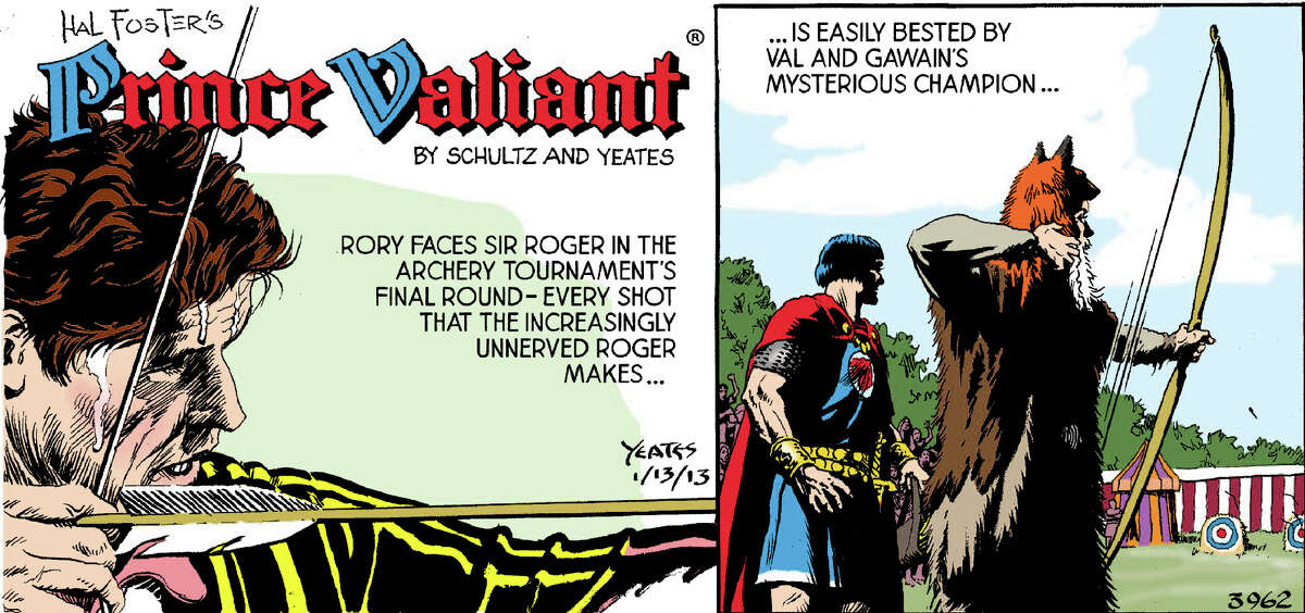Every shot that Roger makes is bested by Val and Gawain's mysterious champion.