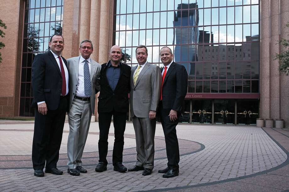 "Houston Grand Opera managing director Perryn Leech, from left, Jerry Fischer, ""Ring"" director Carlus Padrissa, John Turner and HGO artistic director Patrick Summers. Photo: Hallie Jordan"