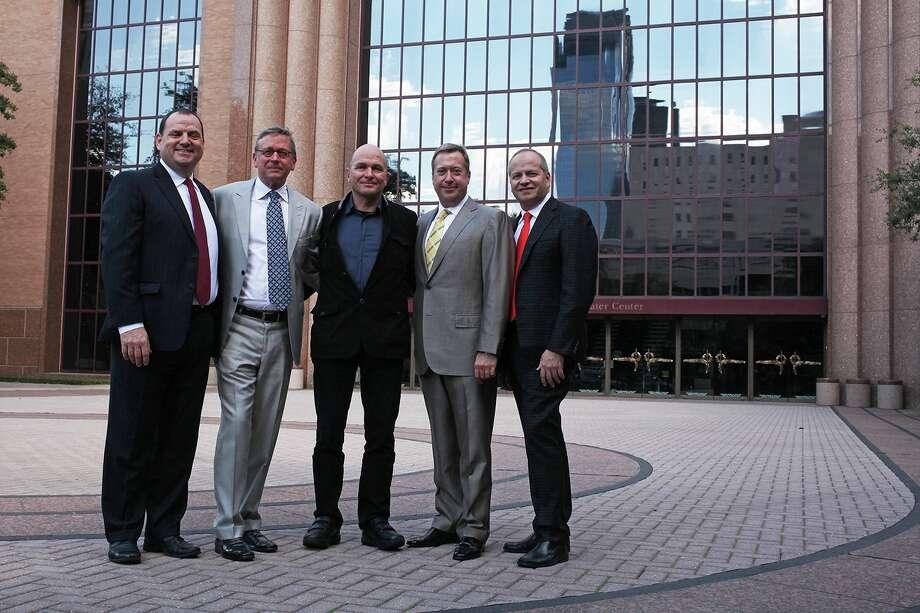"Houston Grand Opera managing director Perryn Leech, from left, Jerry Fischer, ""Ring"" director Carlus Padrissa, John Turner and HGO artistic director Patrick Summers. Photo: Hallie Jordan"