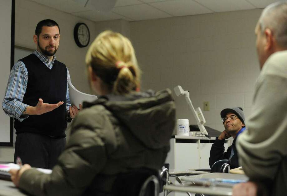Adjunct professor Michael Washco teaches a substance abuse counseling class at Schenectady Community College on Tuesday Jan. 22, 2013, in Schenectady, N.Y. (Michael P. Farrell/Times Union) Photo: Michael P. Farrell