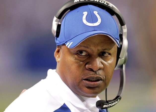 FILE - In this Dec. 22, 2011 file photo, Indianapolis Colts coach Jim Caldwell watches during second half of an NFL football game against the Houston Texans,  in Indianapolis. The Colts have fired Caldwell. The team announced the decision Tuesday, Jan. 17, 2012. Caldwell just finished his third and worst season as head coach of the Colts, who stumbled to a 2-14 finish without injured quarterback Peyton Manning. (AP Photo/AJ Mast, File) Photo: AJ Mast, Associated Press / AP2011