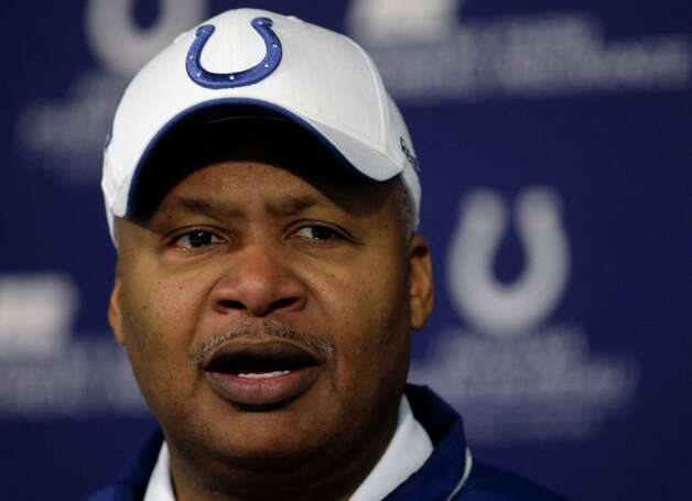 Indianapolis Colts head coach Jim Caldwell speaks at a news conference at the  team's practice facility in Indianapolis, Wednesday, Jan. 6, 2010. (AP Photo/Michael Conroy) Photo: Michael Conroy, Associated Press / AP