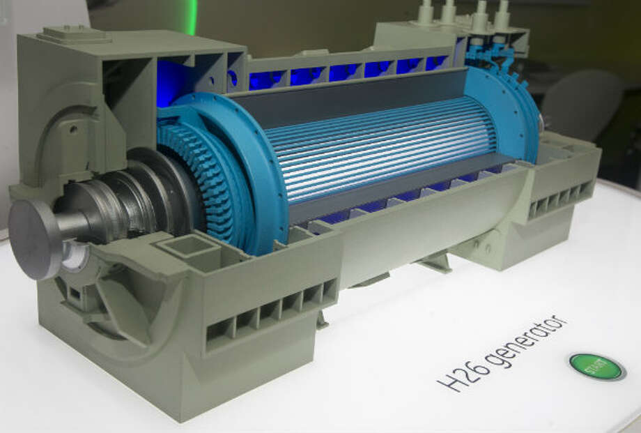 A model of a H26 generator is on display during the GE's tour at Minute Maid Park. The generator was developed for quick installation and efficient operations using a once-through hydrogen ventilation cooling system to deliver 98.9% efficiency.