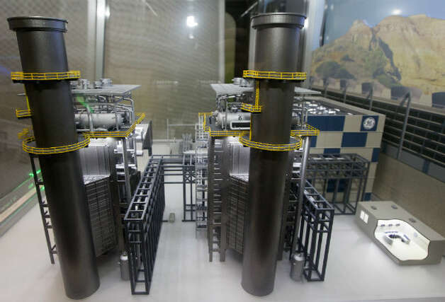 A model of a GE FlexEfficiency 60 Combined Cycle Power Plant is on display during GE's tour. The plant will generate a new level of baseload efficiency while also retaining the high efficiency at part load.