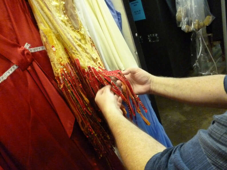 Each piece of the velvet underlay on these Angels costumes is hand-painted.