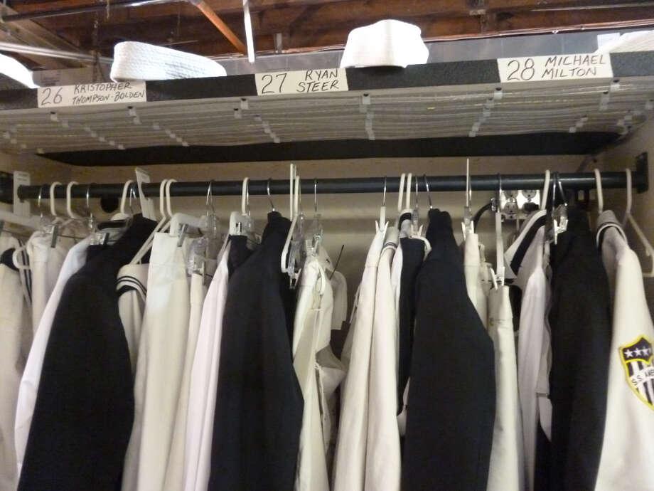 The men's dressing area.